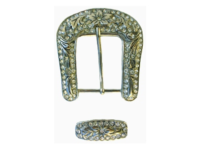 Silver buckle with raised pattern motif fitted with 4mm white crystal stones