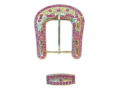 Silver buckle with raised pattern motif fitted with 4mm bright pink crystal stones