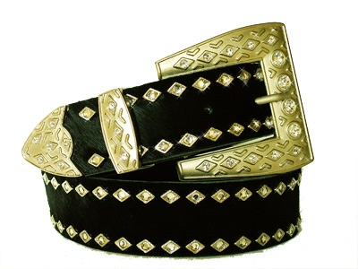 Black natural leather belt