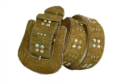 Croc pattern honey beige leather belt