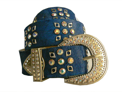 Blue leather jewelled belt